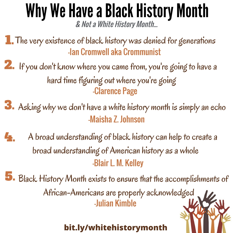 Why We Have a Black History Month & Not a White History Month...